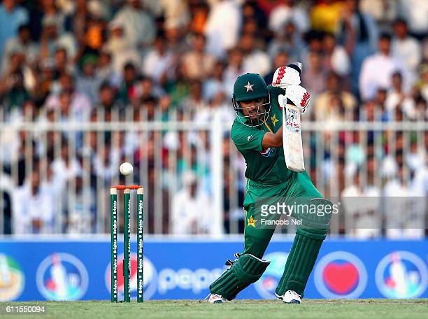 Babar Azam of Pakistan bats during the first One Day International match between Pakistan and West Indies at Sharjah Cricket Stadium on September 30...