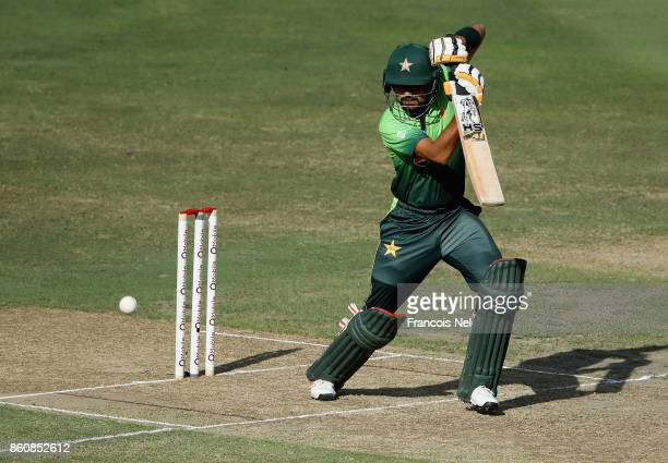 Babar Azam of Pakistan bats during the first One Day International match between Pakistan and Sri Lanka at Dubai International Stadium on October 13...