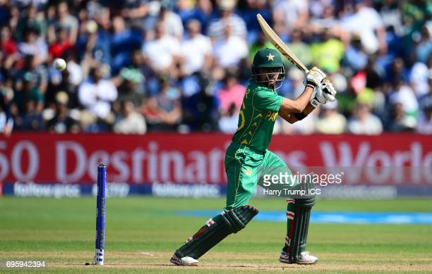 Babar Azam of Pakistan bats during the ICC Champions Trophy Semi Final match between England and Pakistan at the SWALEC Stadium on June 14 2017 in...