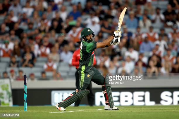 Babar Azam of Pakistan bats during the International Twenty20 match between New Zealand and Pakistan at Eden Park on January 25 2018 in Auckland New...