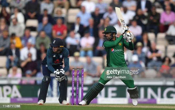Babar Azam of Pakistan bats during the second One Day International between England and Pakistan at The Ageas Bowl on May 11 2019 in Southampton...