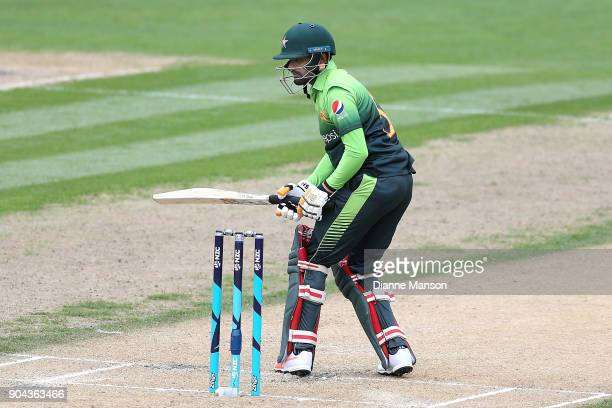 Babar Azam of Pakistan bats during the third game of the One Day International Series between New Zealand and Pakistan at University of Otago Oval on...