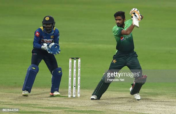 Babar Azam of Pakistan bats during the third One Day International match between Pakistan and Sri Lanka at Zayed Cricket Stadium on October 18 2017...