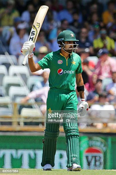 Babar Azam of Pakistan celebrates after reaching his half century during game three of the One Day International series between Australia and...