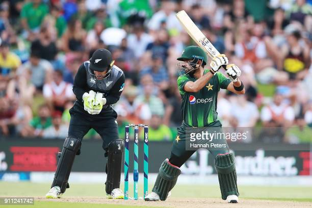 Babar Azam of Pakistan cuts the ball away for four runs during game three of the International Twenty20 match between New Zealand and Pakistan at Bay...