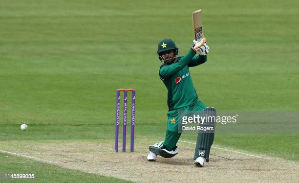 Babar Azam of Pakistan drives the ball during the tour match between Northamptonshire and Pakistan at The County Ground on April 29 2019 in...