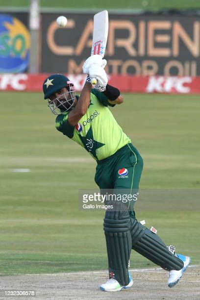 Babar Azam of Pakistan during the 3rd KFC T20 International match between South Africa and Pakistan at SuperSport Park on April 14, 2021 in Pretoria,...