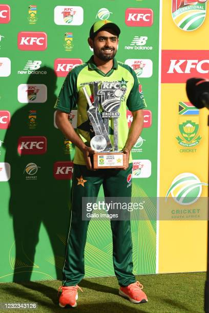 Babar Azam of Pakistan during the 4th KFC T20 International match between South Africa and Pakistan at SuperSport Park on April 16, 2021 in Pretoria,...