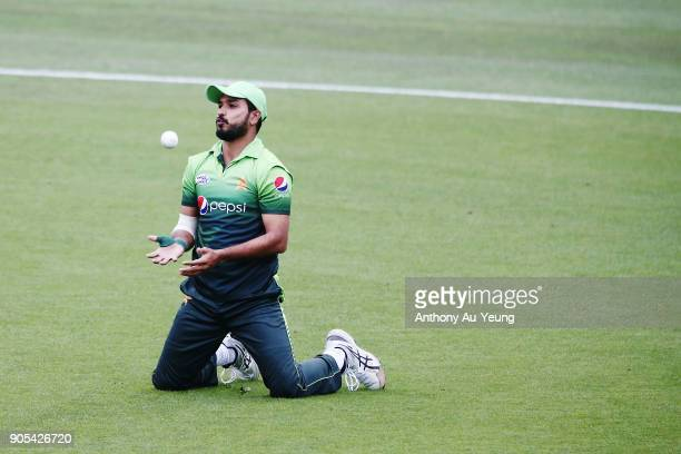 Babar Azam of Pakistan fields the ball during game four of the One Day International Series between New Zealand and Pakistan at Seddon Park on...