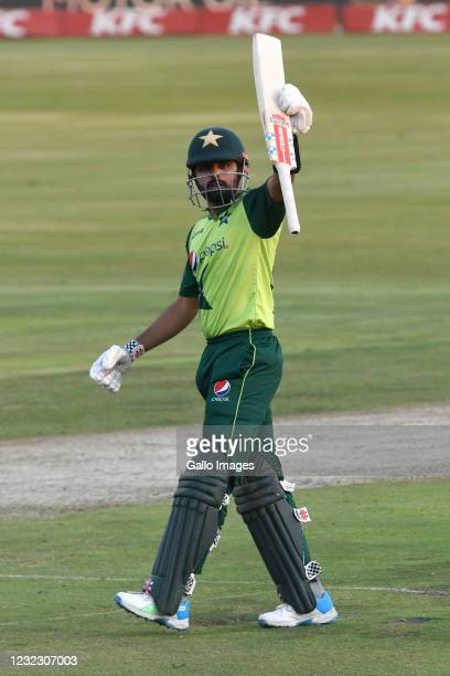 Babar Azam of Pakistan goes to his 100 runs during the 3rd KFC T20 International match between South Africa and Pakistan at SuperSport Park on April...