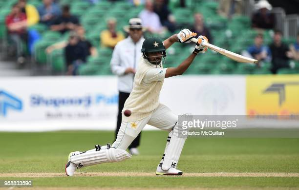 Babar Azam of Pakistan hits his 50th run during the fifth day of the international test cricket match between Ireland and Pakistan on May 15 2018 in...