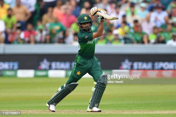Babar Azam of Pakistan hits out during the Group Stage match of the ICC Cricket World Cup 2019 between Pakistan and South Africa at Lords on June 23...