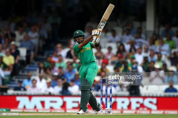 Babar Azam of Pakistan hits out during the ICC Champions Trophy Final match between India and Pakistan at The Kia Oval on June 18 2017 in London...