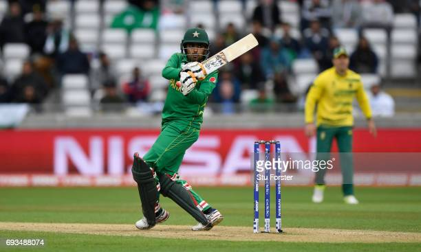 Babar Azam of Pakistan hits out during the ICC Champions Trophy match between South Africa and Pakistan at Edgbaston on June 7 2017 in Birmingham...
