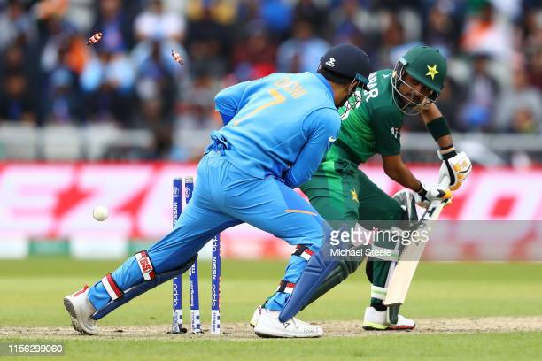 Babar Azam of Pakistan is bowled by Kuldeep Yadav of India during the Group Stage match of the ICC Cricket World Cup 2019 between India and Pakistan...