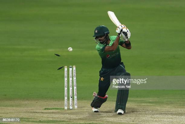 Babar Azam of Pakistan is bowled by Lahiru Gamage of Sri Lanka during the third One Day International match between Pakistan and Sri Lanka at Zayed...