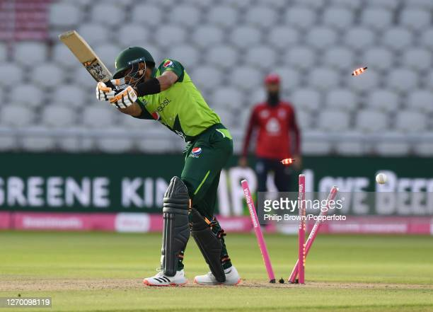 Babar Azam of Pakistan is bowled by Tom Curran of England during the 3rd Vitality Twenty20 match at Emirates Old Trafford on September 01, 2020 in...