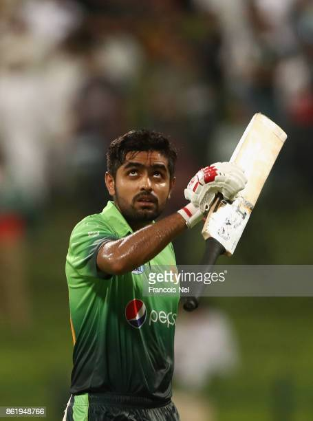 Babar Azam of Pakistan leaves the filed after being dismissed by Lahiru Gamage of Sri Lanka during the second One Day International match between...