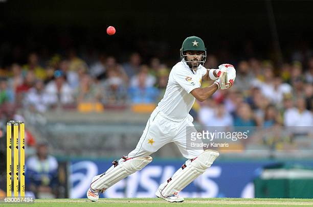 Babar Azam of Pakistan plays a shot during day two of the First Test match between Australia and Pakistan at The Gabba on December 16 2016 in...