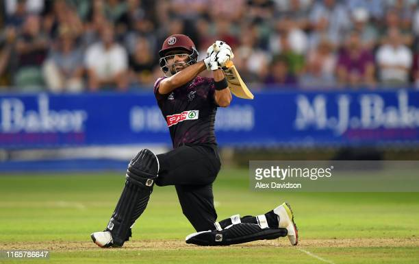 Babar Azam of Somerset bats during the Vitality Blast match between Somerset and Surrey at The Cooper Associates County Ground on August 02, 2019 in...