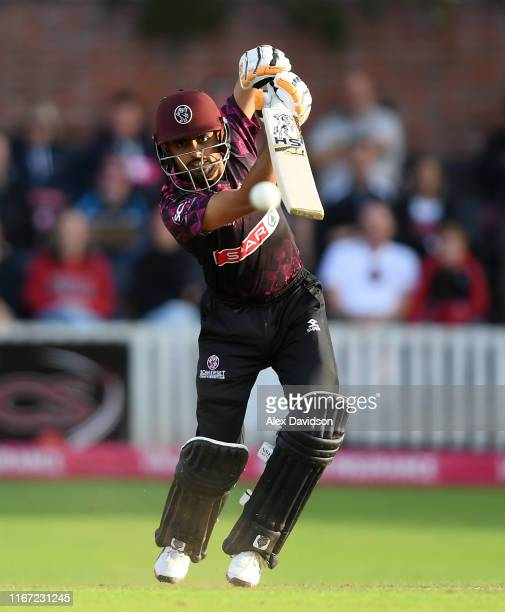 Babar Azam of Somerset bats during the Vitality Blast match between Somerset and Kent Spitfires at The Cooper Associates County Ground on August 10...