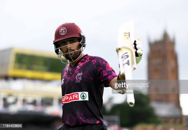 Babar Azam of Somerset lifts his bat to the crowd after finishing unbeaten on 95 during the Vitality Blast match between Somerset and Hampshire at...