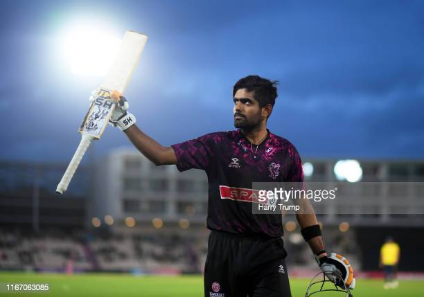 Babar Azam of Somerset makes his way off at the end of the innings after scoring an unbeaten century during the Vitality T20 Blast match between...