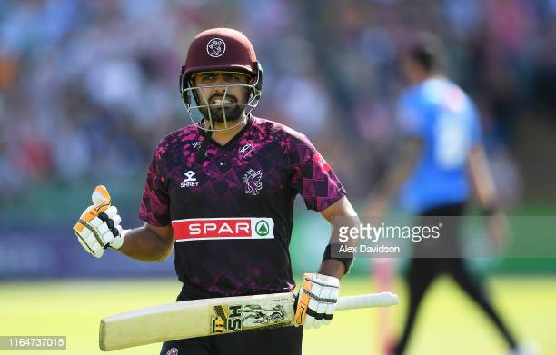 Babar Azam of Somerset reacts after being dismissed during the Vitality Blast match between Somerset and Sussex Sharks at The Cooper Associates...
