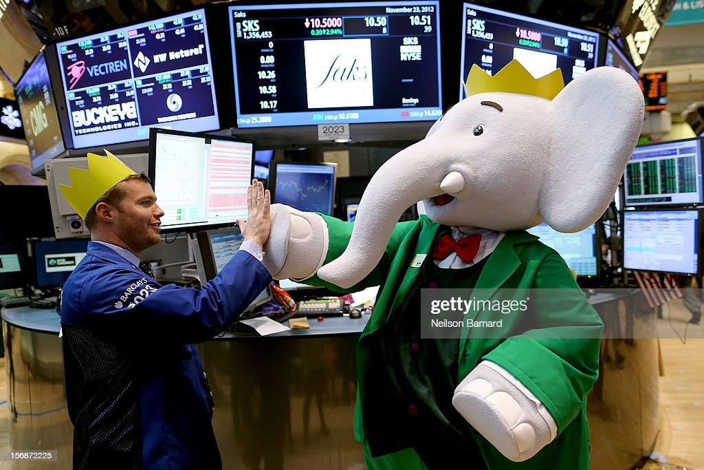 Babar the Elephant, the French fictional children's character by Jean de Brunhoff, celebrates the 80th Birthday of Babar with Saks by ringing the closing bell and visiting the trading floor at the New York Stock Exchange on November 23, 2012 in New York City.