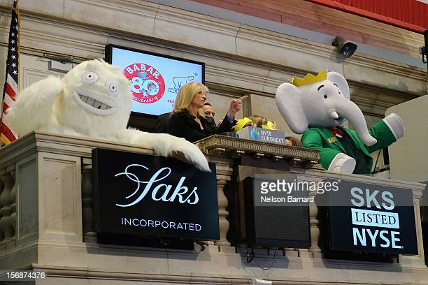 Babar the Elephant the French fictional children's character by Jean de Brunhoff celebrates the 80th Birthday of Babar with the Saks Yeti Tracy...
