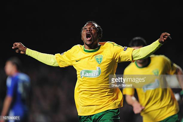 Babatounde Bello of MSK Zilina celebrates scoring the opening goal during the UEFA Champions League Group F match between Chelsea and MSK Zilina at...