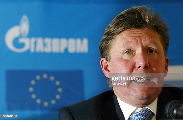 Babayevo, RUSSIAN FEDERATION: A picture taken 09 December 2005 shows Gazprom Chairman Alexey Miller speaking during the ceremony marking the...