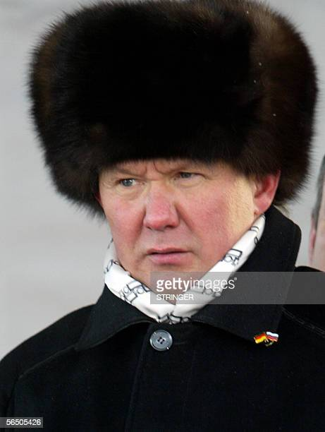 Babayevo, RUSSIAN FEDERATION: A picture taken 09 December 2005 shows Gazprom Chairman Alexey Miller attending the ceremony marking the beginning of...