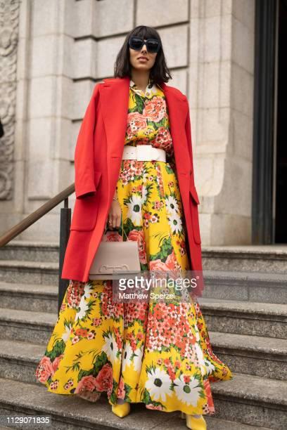 Babba C Rivera is seen on the street during New York Fashion Week AW19 wearing Carolina Herrera on February 11, 2019 in New York City.