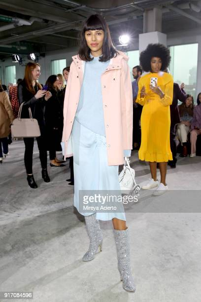 Babba Canales Rivera attend the Tibi front row during New York Fashion Week: The Shows at Pier 17 on February 11, 2018 in New York City.