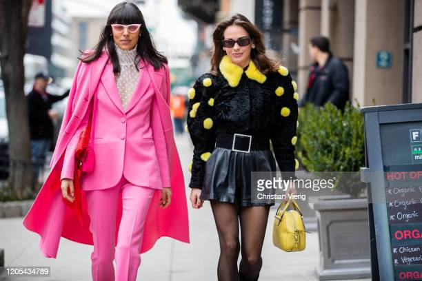 Babba Rivera and Therese Hellström is seen outside Zimmermann during New York Fashion Week Fall / Winter on February 10, 2020 in New York City.