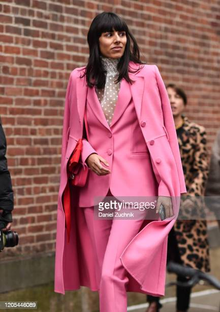 Babba Rivera is seen wearing a pink suit outside the Zimmermann show during New York Fashion Week: A/W20 on February 10, 2020 in New York City.