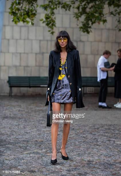 Babba Rivera is seen wearing black blazer, dress outside Saks Potts during Copenhagen Fashion Week Spring/Summer 2020 on August 08, 2019 in...