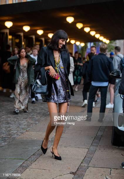 Babba Rivera is seen wearing black blazer dress outside Saks Potts during Copenhagen Fashion Week Spring/Summer 2020 on August 08 2019 in Copenhagen...