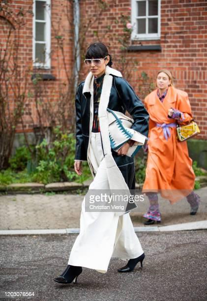Babba Rivera seen wearing shearling coat, wide leg pants outside By Malene Birger during Copenhagen Fashion Week Autumn/Winter 2020 Day 3 on January...