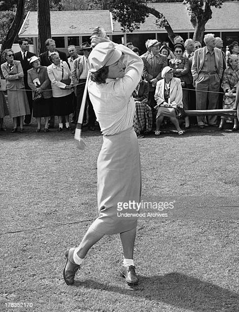 Babe Didrikson teeing off at the Weathervane golf tournament Pebble Beach California c 1951
