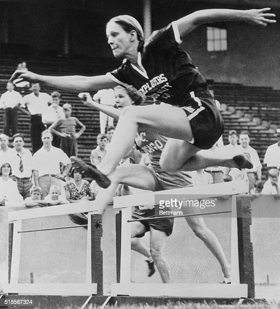 Babe Didrikson Zaharias wins the 80-meter hurdles at the Olympic tryouts in Evanston, Illinois in 1932