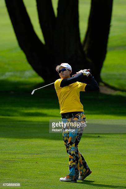 Babe Liu makes an approach shot on the fourth hole during round one of the Swinging Skirts LPGA Classic presented by CTBC at the Lake Merced Golf...