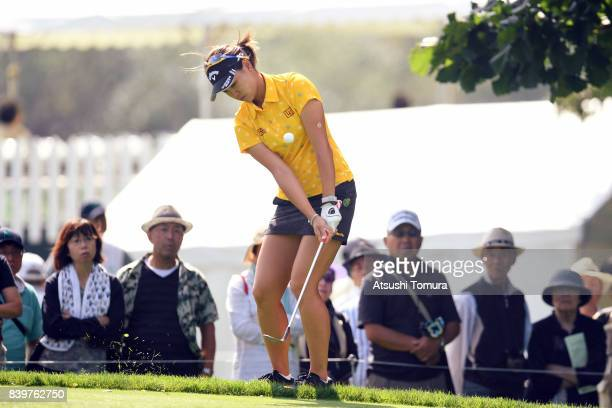Babe Liu of Taiwan chips onto the 13th green during the final round of the Nitori Ladies 2017 at the Otaru Country Club on August 27 2017 in Otaru...