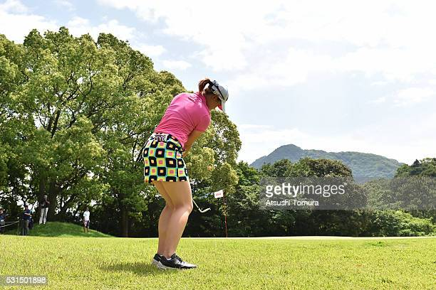 Babe Liu of Taiwan chips onto the 7th green during the final round of the HokennoMadoguchi Ladies at the Fukuoka Country Club Ishino Course on May 15...