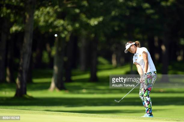 Babe Liu of Taiwan chips onto the 9th green during the third round of the Nitori Ladies 2017 at the Otaru Country Club on August 26 2017 in Otaru...