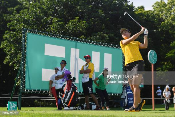 Babe Liu of Taiwan chits her tee shot on the 17th hole during the final round of the Nitori Ladies 2017 at the Otaru Country Club on August 27 2017...