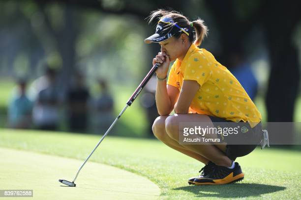 Babe Liu of Taiwan clines up her putt on the 17th hole during the final round of the Nitori Ladies 2017 at the Otaru Country Club on August 27 2017...