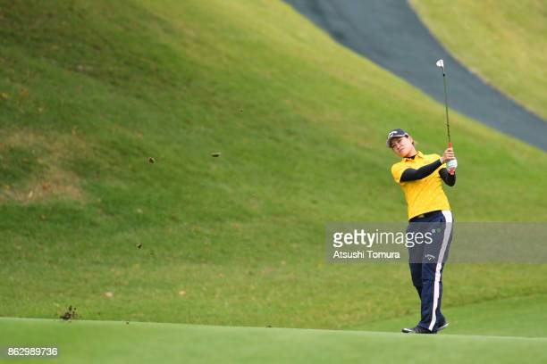 Babe Liu of Taiwan hits her second shot on the 12th hole during the first round of the Nobuta Group Masters GC Ladies at the Masters Golf Club on...