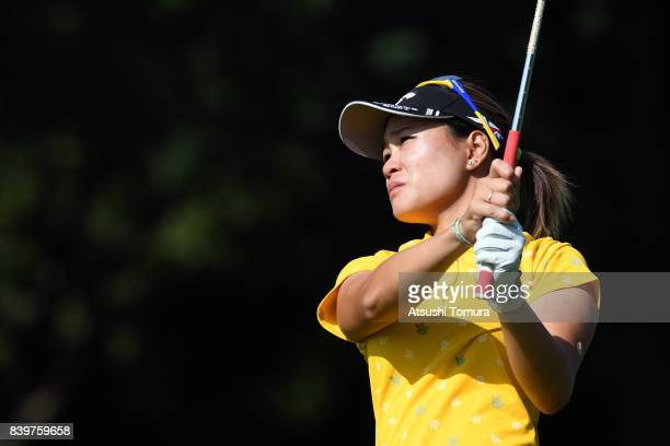 Babe Liu of Taiwan hits her second shot on the 15th hole during the final round of the Nitori Ladies 2017 at the Otaru Country Club on August 27 2017...